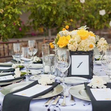 yellow wedding centerpiece
