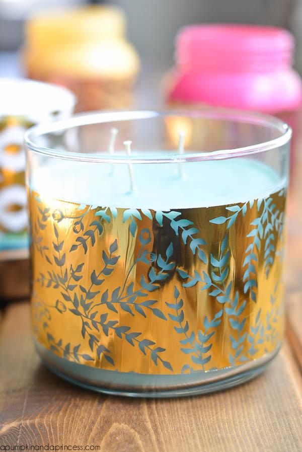 DIY gold foil candle wrap