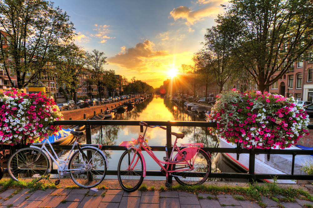 view of Amsterdam canal at sunrise