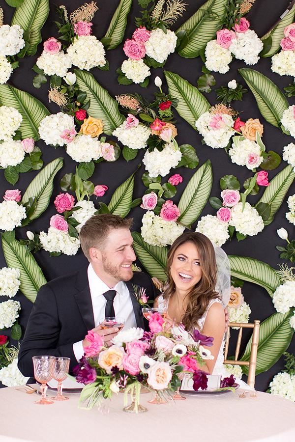 patterned floral wedding backdrop