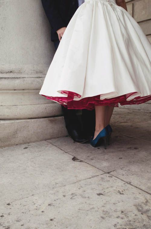 wedding dress with red