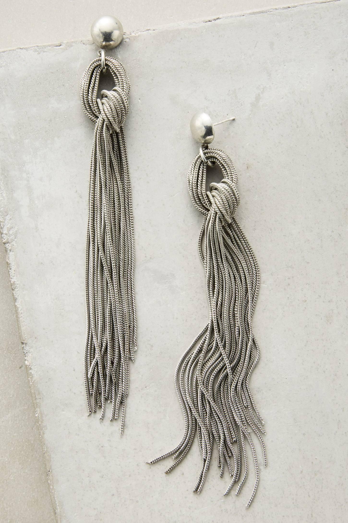 silver fringe earrings