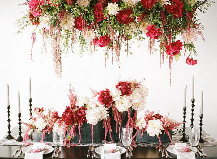 Red Hanging Floral Centerpiece For Garden Wedding Inspiration