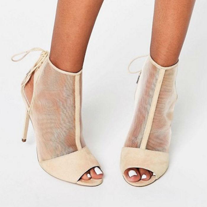 Elizabeth Peep Toe Mesh Shoe Boots