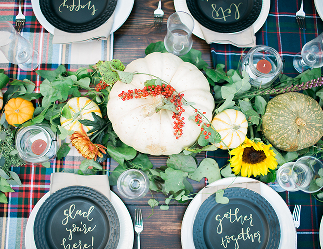 plaid table linens