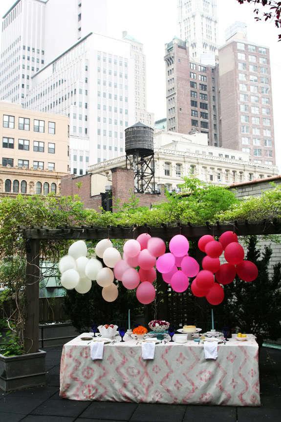 Ombre Balloons for Wedding Dessert via Table via Babble