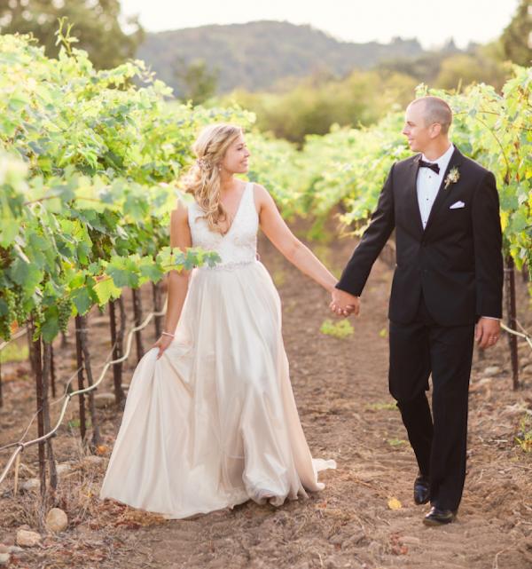 Plunging v-neck wedding dress