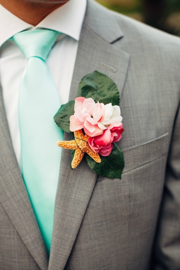 Starfish Wedding Boutonniere via Bajan Wed