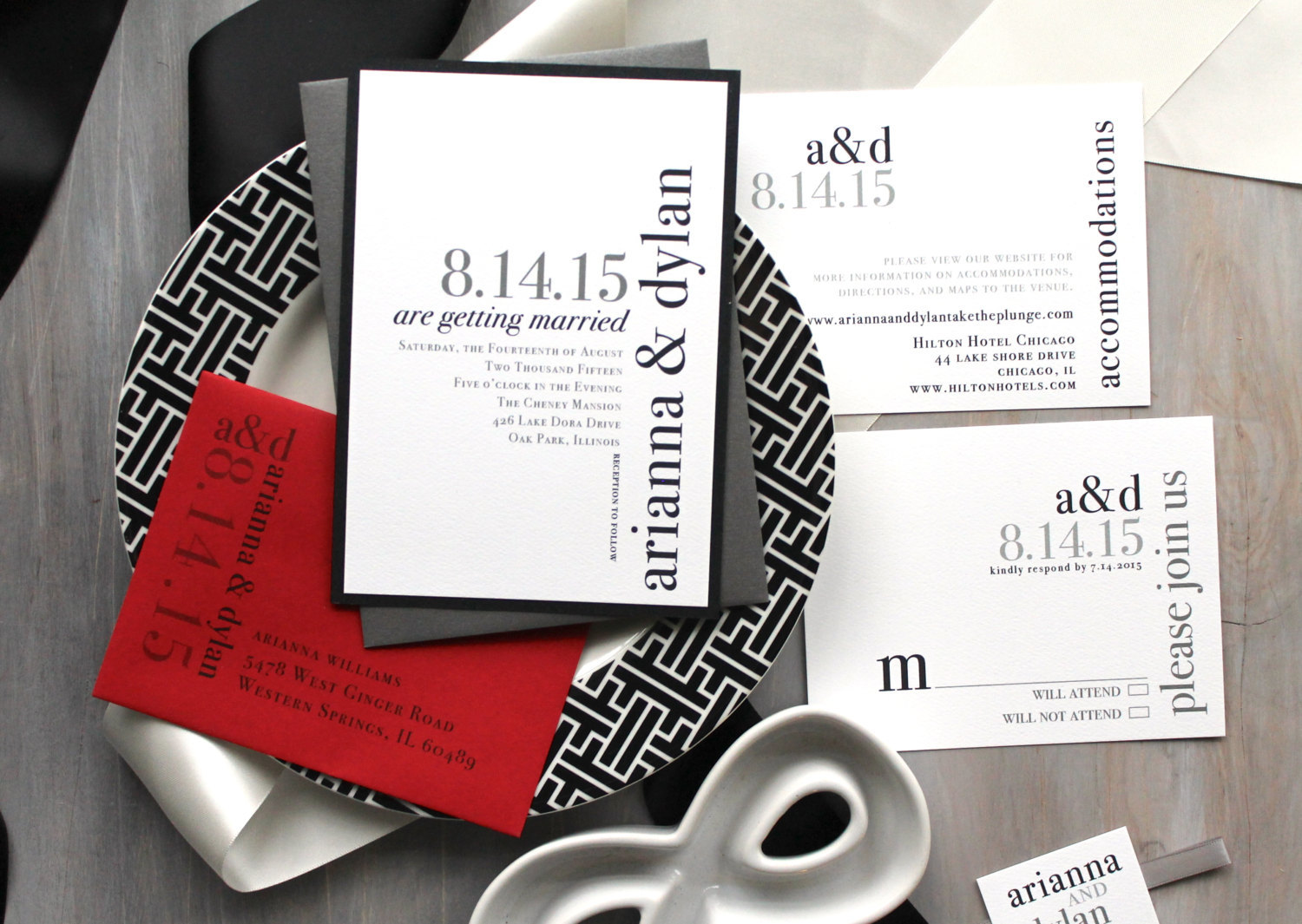 gray and red invitation