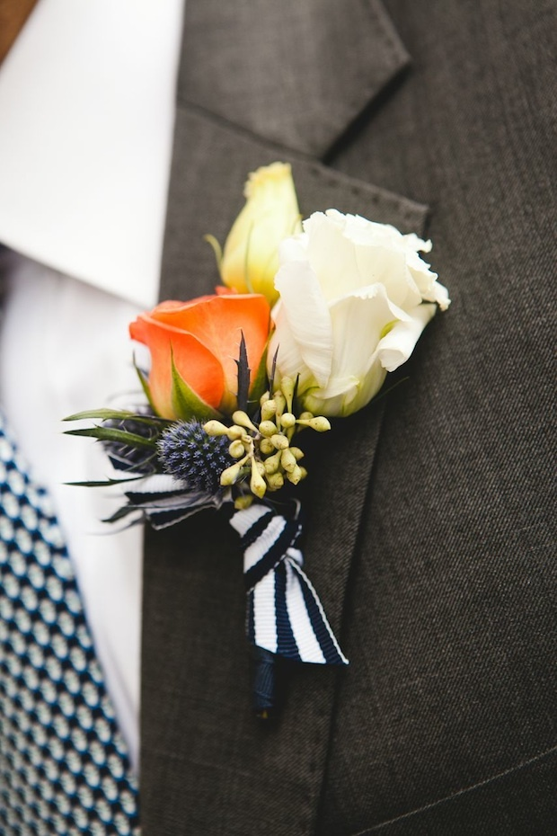 Orange and White Boutonniere via Beautiful Blooms