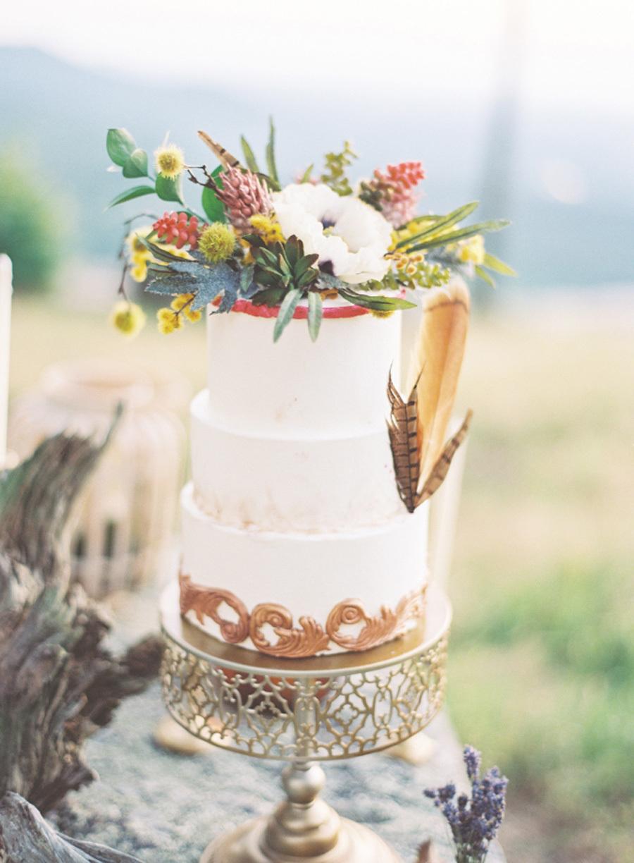 Floral Feather Boho Wedding Cake