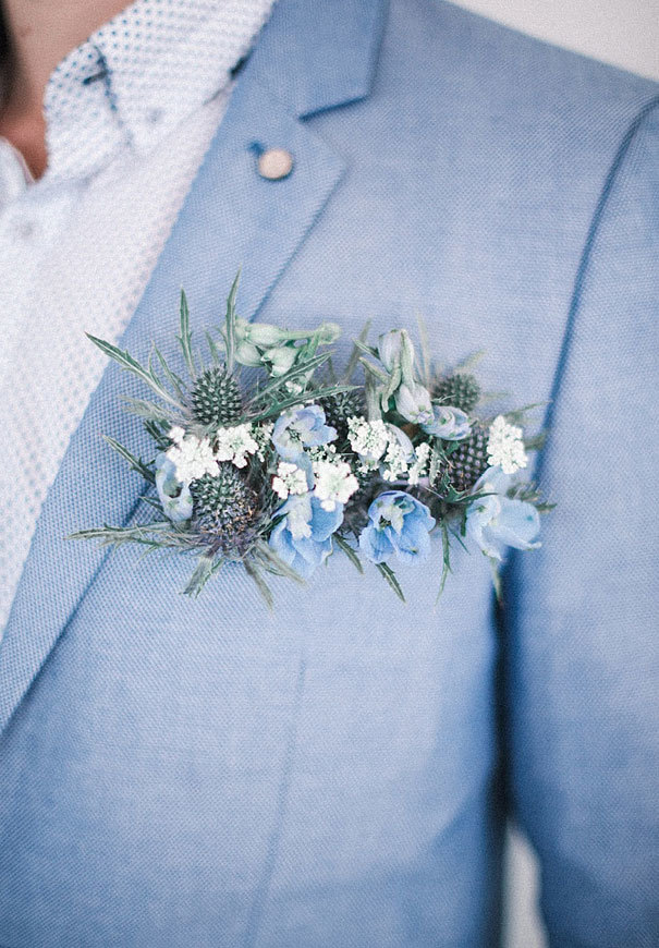 Blue and Gray Floral Boutonniere via Ben Yew Photography
