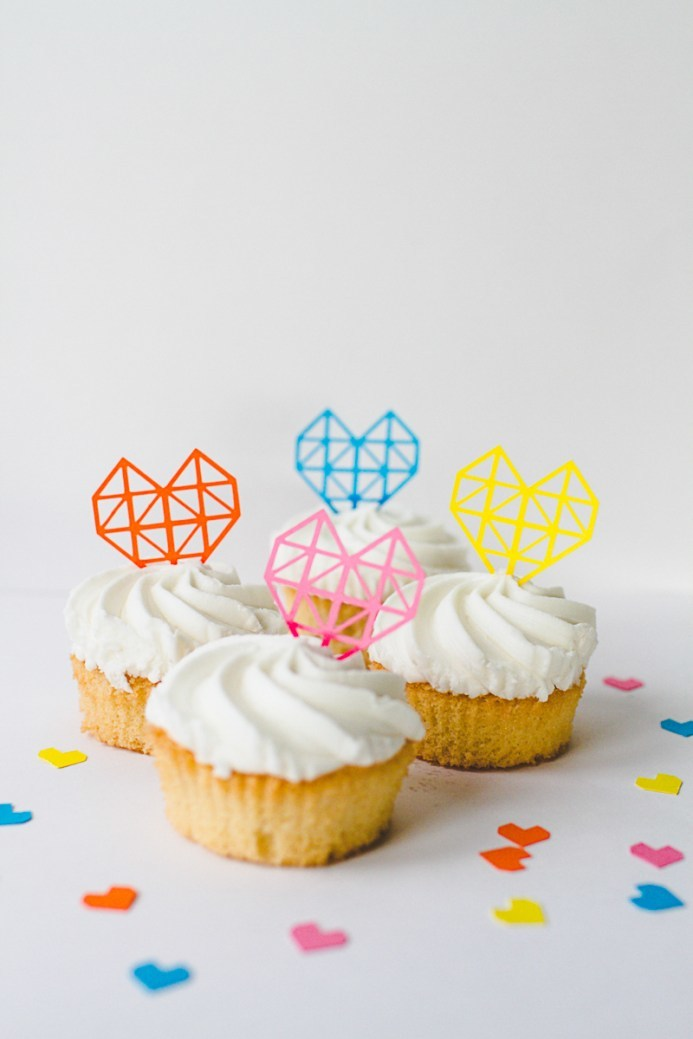 geometric heart cupcake flags