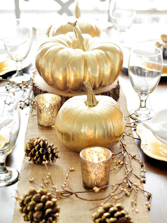 gold pumpkin tablescape