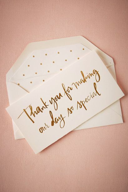 gold foil wedding thank you card