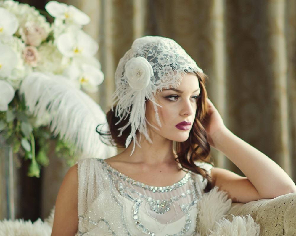 Glam 1920s cap veil