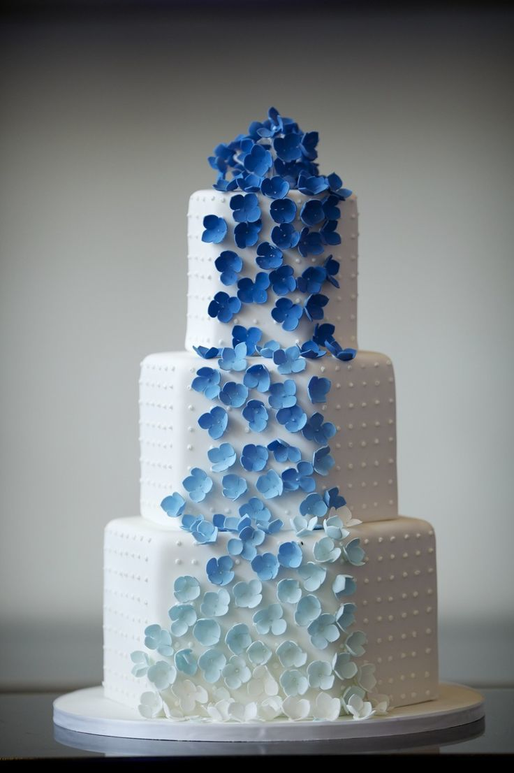 Cascading Blue Ombre Flowers
