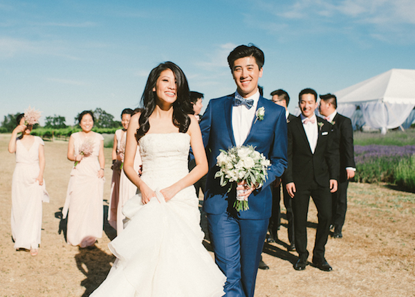 Winter wedding with blue suit