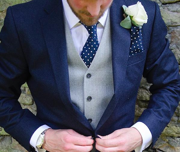 Blue suit with tie