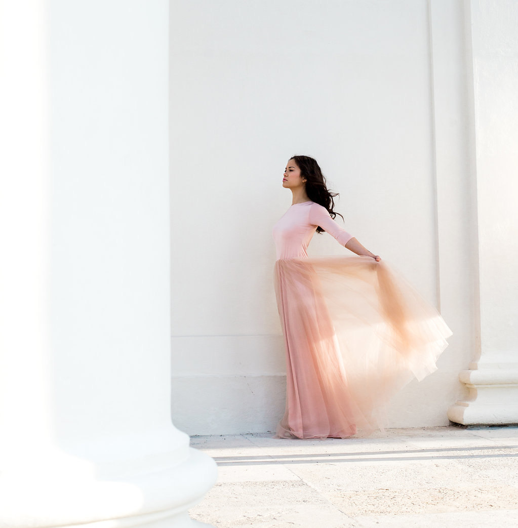 pink tulle bridesmaid dress