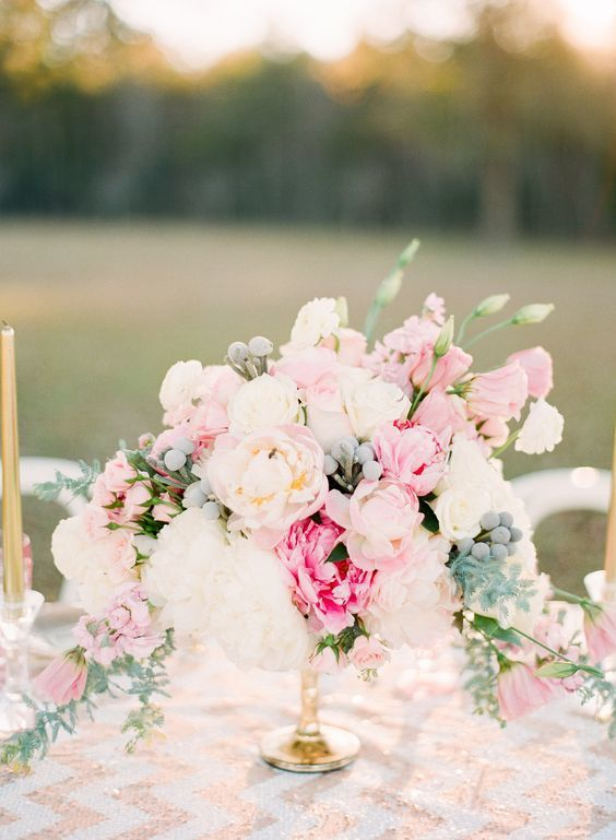 Romantic Pastel Pink Peony Centerpiece