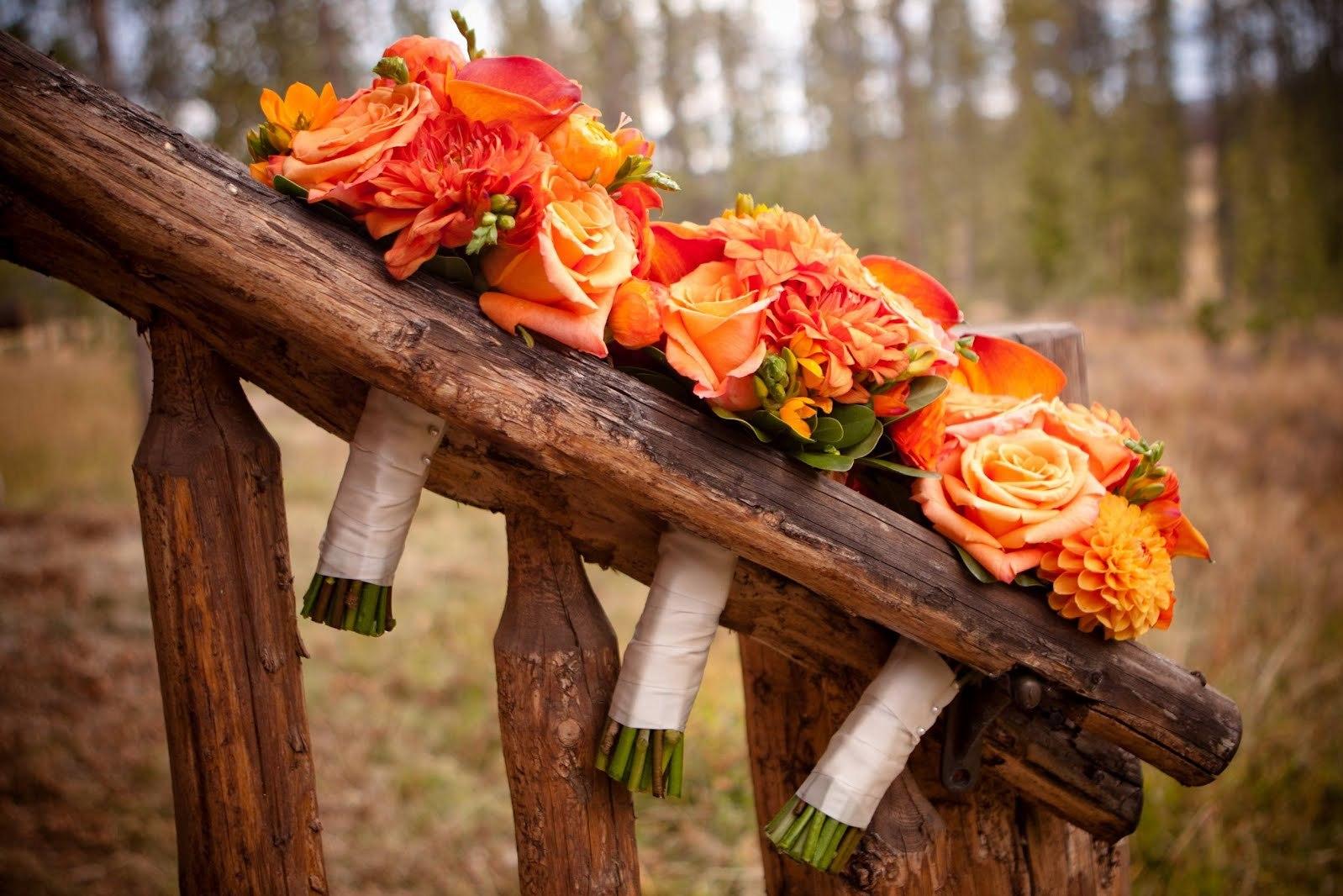 Fiery Bridesmaid Bouquets