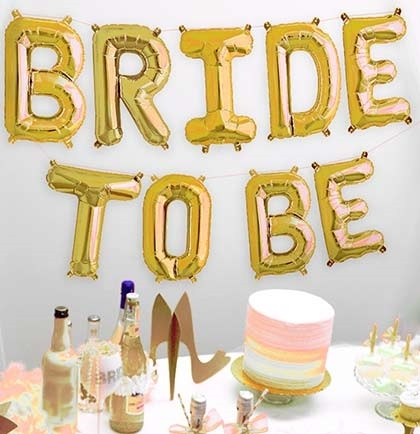 Bride-To-Be Gold Mylar Balloons