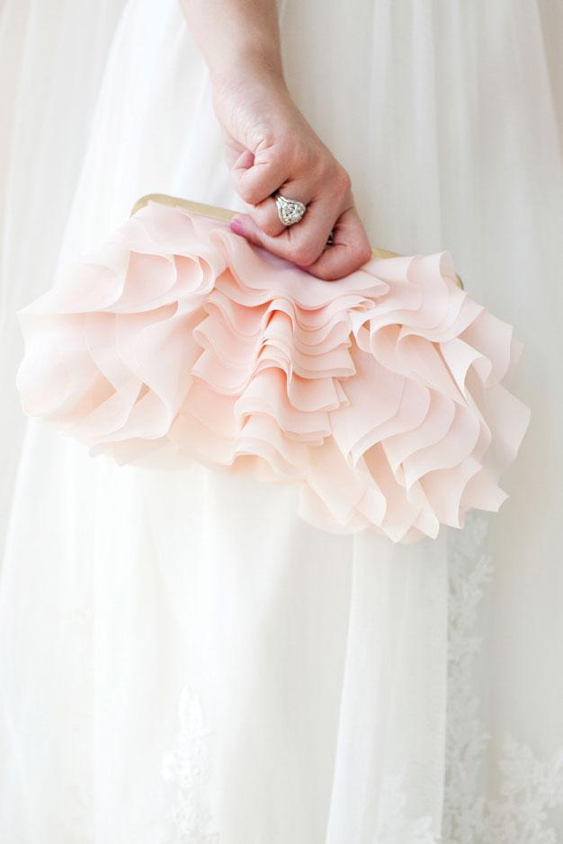 pink bridal clutch