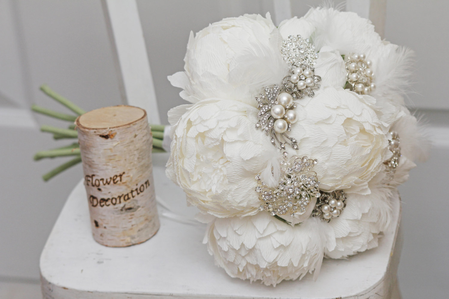 White Brooch Encrusted Bouquet