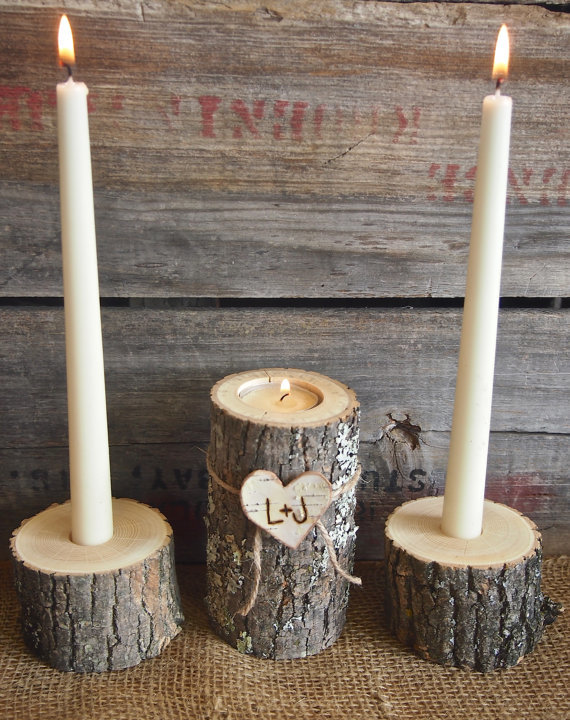 carved wooden candleholders