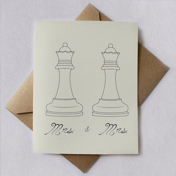 Mrs. and Mrs. Wedding Invites by Two Penguins Cards