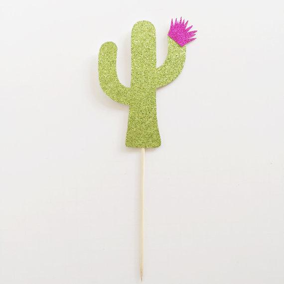 Glitter Cactus Cupcake Topper