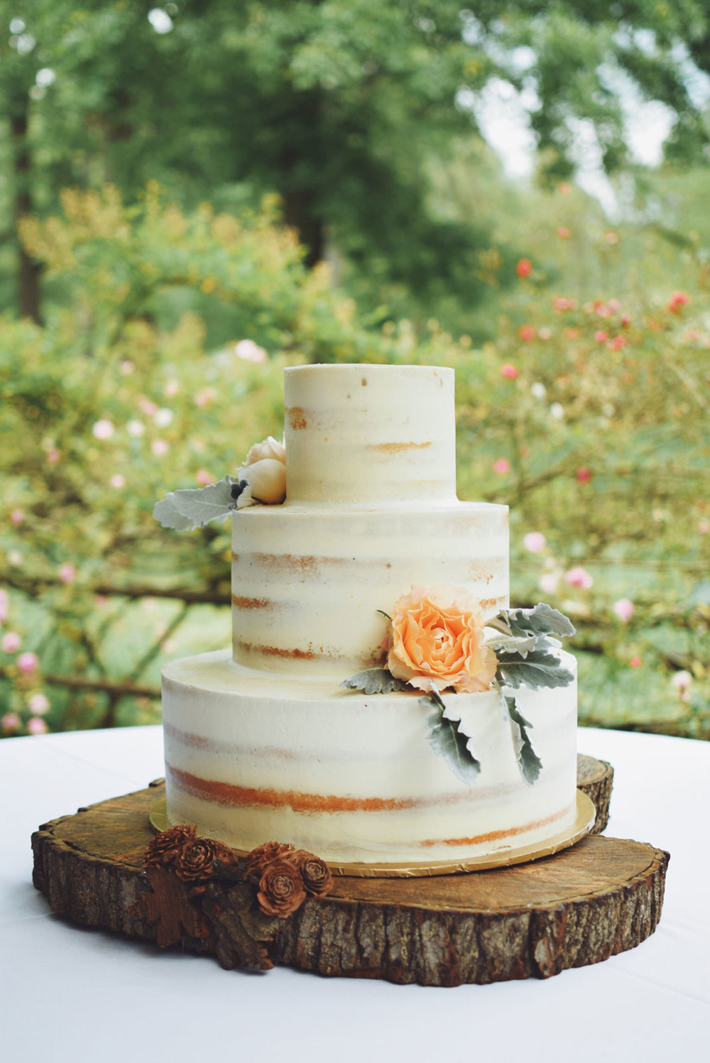 Semi naked fall wedding cake