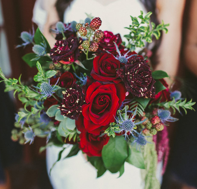 Thistles and rose bouquet