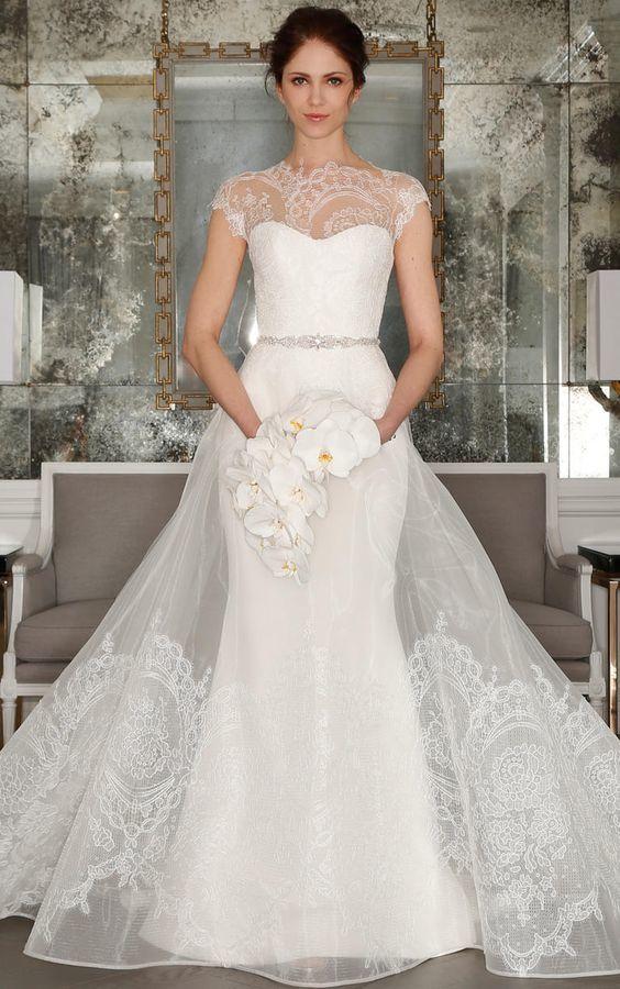 Cap sleeve illusion wedding dress