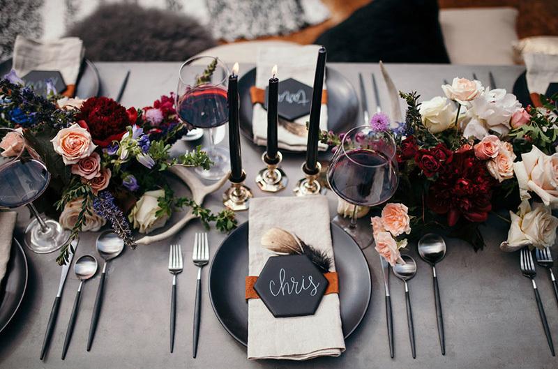 dark wedding tablescape