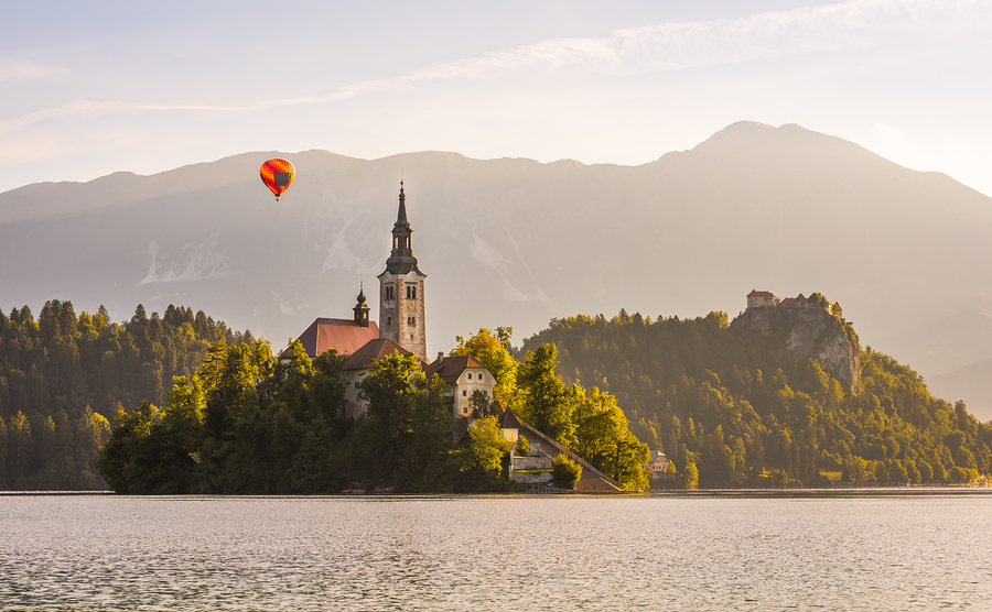 Coastline view of Zagreb Cathedral in Lake Bled