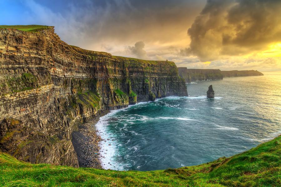 View of craggy coast of Wild Atlantic Way, Ireland