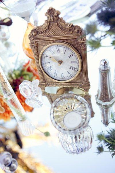 Nonfloral clock centerpiece