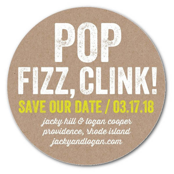Raise Your Glass Save The Date Coasters