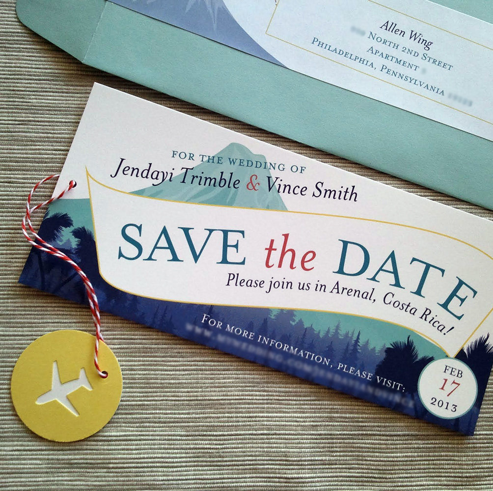 luggage tag save the date