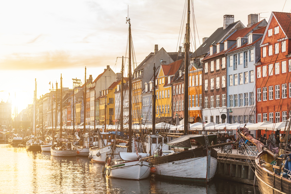 Copenhagen waterfront with boats