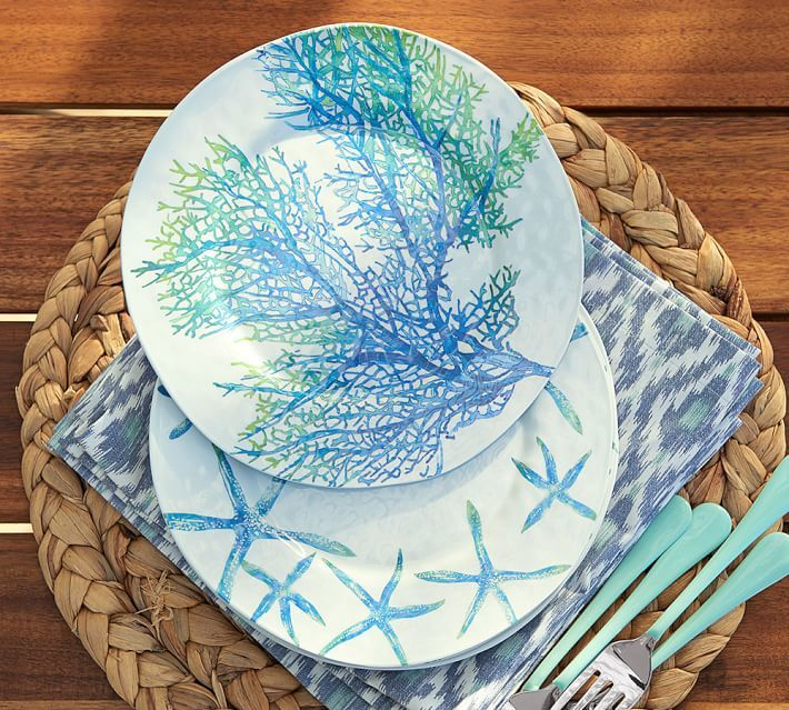 Coral & Starfish Melamine Plates, Mixed Set of 4 by Pottery Barn