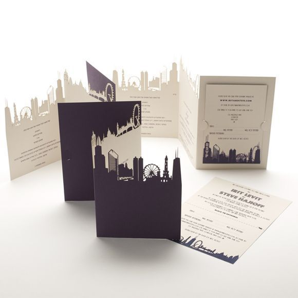 cut out skyline wedding invitation