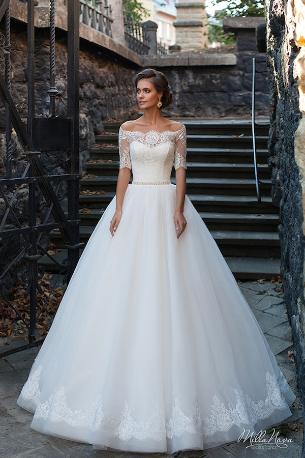 Off the shoulder illusion wedding dress