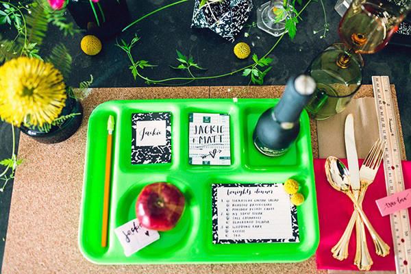 school tray place setting