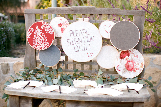 Quilt Wedding Guest Book on Welcome Table by Diana Marie