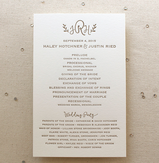 10 Simple Wedding Programs For No Fuss