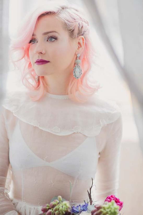 pastel bridal hair