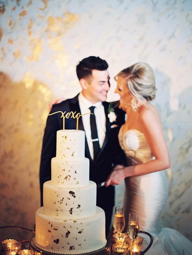 Gold foil wedding backdrop